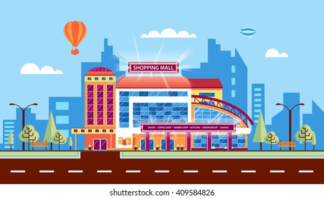Stock vector illustration city street with Moll, shopping center, modern architecture in flat style element for info graphic, website, icon, games, motion design, video