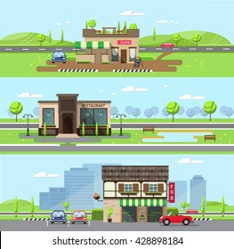 Stock vector illustration city street with cafe and restaurant, pub in flat style element for infographic, website, icon, games, motion design, video
