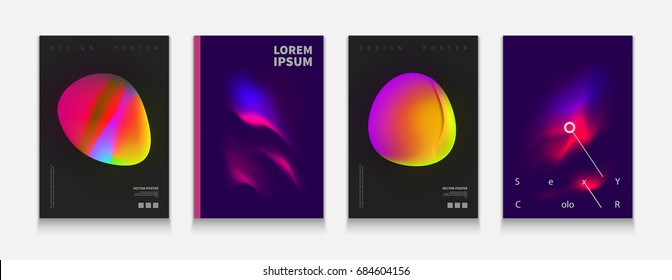 Stock vector illustration color covers set. Fluid shapes composition. Futuristic design posters. Templates for placards, banners, flyers, presentations and reports. EPS10