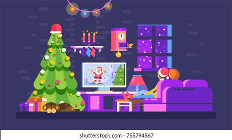 Stock vector illustration cozy Christmas evening home interior, lovers sit on couch watch TV with Santa Claus in New Year Eve festive night, dog near Xmas tree for Motion Design flat style dark backgr