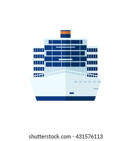 Stock Vector illustration of cruise ship isolated, front view on white background, liner in flat style for infographic