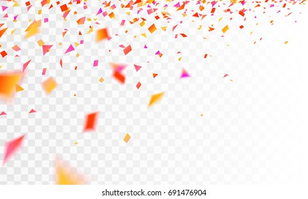 Stock vector illustration defocused realistic orange and red confetti Isolated on a transparent checkered background. EPS10