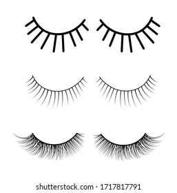 Stock vector illustration of false eyelashes. A set of eyes in a simple Doodle style. Monochrome. Isolated on a white background. Brow master. Beauty salon. Cosmetology. Mascara to increase the volume