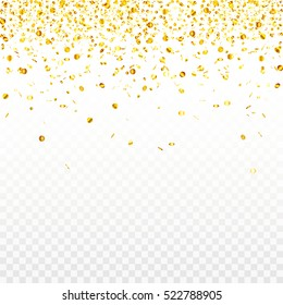 Stock vector illustration gold confetti isolated on a transparent background. Many small shiny gold circles. EPS 10