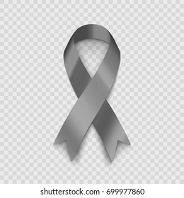 Stock vector illustration gray ribbon Isolated on transparent background. The problem of diabetes. The problem of brain cancer. EPS10