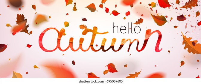Stock vector illustration Hallo Autumn falling leaves. Autumnal foliage fall and poplar leaf flying in wind motion blur. Autumn design. Templates for placards, banners, flyers, presentations, reports.