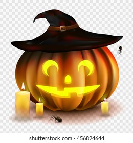 Stock vector illustration Halloween pumpkin isolated on a transparent background. Jack o lantern. Witch Hat, candles, spiders. EPS 10