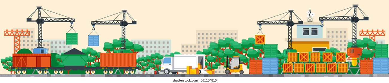 Stock vector Illustration header title transport website. Flat style design infographic rail train container railway transportation logistic traffic goods cargo. Banner footer site background image
