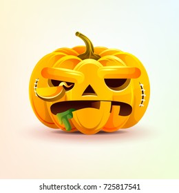 Stock vector illustration horrible cartoon Jack-o-lantern, terrible facial expression autumn pumpkin with evil emotion, emoji, sticker for celebrating Day of all Saints, Happy Halloween in flat style