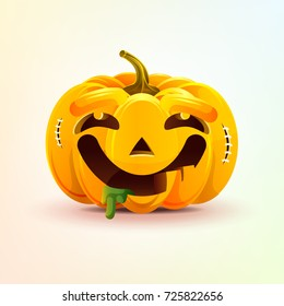 Stock vector illustration horrible cartoon Jack-o-lantern, facial expression pumpkin with dreamily smiling smiley emotion, emoji, sticker for celebrating Day all Saints, Happy Halloween in flat style
