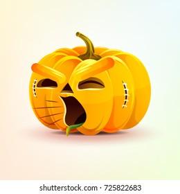 Stock vector illustration horrible cartoon Jack-o-lantern, terrible facial expression pumpkin, yelling scream smiley emotion, emoji, sticker for celebrating Day all Saints, Happy Halloween flat style