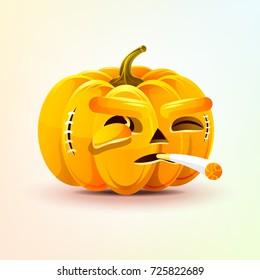 Stock vector illustration horrible cartoon Jack-o-lantern, terrible facial expression of pumpkin smoking cigarette emotion, emoji sticker for celebrating Day all Saints, Happy Halloween in flat style