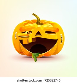 Stock vector illustration horrible cartoon Jack-o-lantern, terrible facial expression smiley pumpkin with laughing emotion, emoji sticker for celebrating Day all Saints, Happy Halloween in flat style
