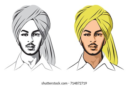 Stock Vector illustration of indian sikh freedom fighter Bhagat Singh