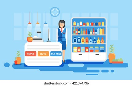 Stock vector illustration interior airport, dutyfree, tax free, retail for flights, business travel in flat style element info graphic, website, games, motion design