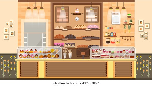 Stock vector illustration interior of bake shop, sale, business of baking sales production of bakery products, pastry, sweets in flat style element for infographic, website
