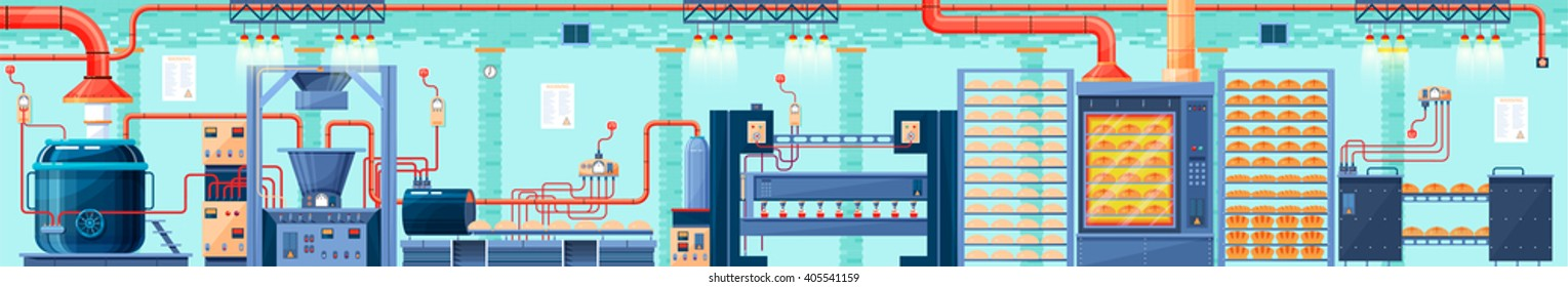 Stock vector illustration interior of plant, factory, baking production of bakery products in flat style element for info graphic, website, icon