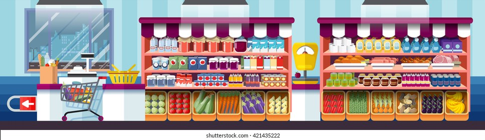Stock vector illustration the interior of supermarket, cashier showcase, grocery, deli in flat style element info graphic, website, games, motion design, video