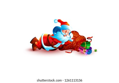 Stock vector illustration isolated character santa claus sleeping slumber tired lies snoring on bag gift present box sticker emoji happy new year merry christmas mascot design element white background