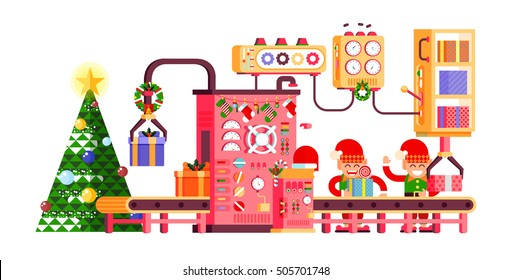 Stock vector illustration of isolated Christmas conveyor with elves pack gifts near the spruce tree festively dressed up, flat style on white background for Happy New Year info graphics 2017