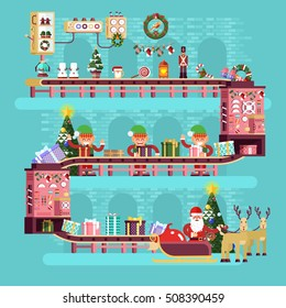 Stock vector illustration isolated Christmas conveyor, elves pack gifts, put them in bag of Santa Claus near tree festively dressed up, flat style of turquoise plant interior background Happy New Year