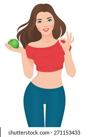 Stock vector illustration isolated on white background beautiful slim girl on a diet with an apple in his hand/Beautiful slim girl on a diet/Stock vector illustration