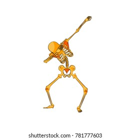 Stock vector illustration isolated orange or yellow skeleton character dancing dab step fashionable hip hop pose meme design element for t-shirt for Happy Halloween cartoon style on white background