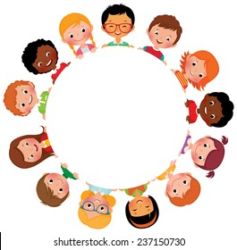 Stock vector illustration of kids friends from around the world around the white circle/Children of friends of the world/Multinational friendship of children from around the world