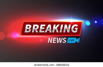 Stock vector illustration logo breaking news live banner. Police lights background, breaking news, bokeh. EPS10