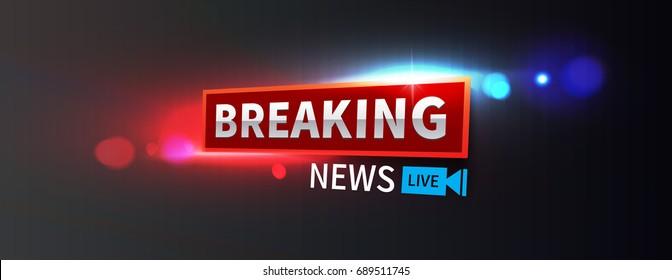 Stock vector illustration logo breaking news live wide format banner. Police lights background, breaking news, bokeh. EPS10