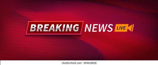 Stock vector illustration logo breaking news live banner. Red wavy lines background. EPS10
