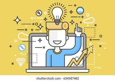 Stock vector illustration man with idea lamp light bulb above head and index finger up design element for solution service business online help presentation startup linear style yellow background icon