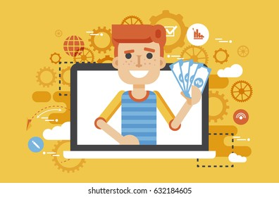 Stock vector illustration man money in hand design element financial education, banking, deposit, win, earning, income, saving, discount, online marketing management flat style yellow background icons