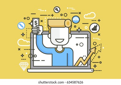 Stock vector illustration man money in hand design element financial education, banking, deposit, win, earning, income, saving, discount online marketing management linear style yellow background icon