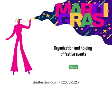 Stock vector illustration of a mardi gras landing page with carnival character on stilts.