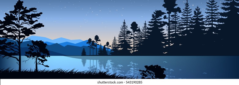 Stock vector illustration of nature backdrop of mountains and lake landscape with silhouette of trees, spruces at night on background of blue sky for brochure, banner, website, printed materials, card