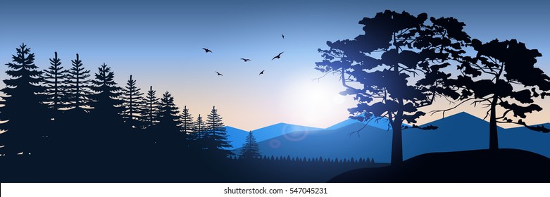 Stock vector illustration of nature backdrop of mountains landscape with silhouette of trees, spruces. For banner, horizontal header website, printed materials. Image Picture Background Blue