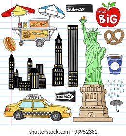 Stock Vector Illustration: New York City Manhattan Notebook Doodle Design Elements Set on Lined Sketchbook Paper Background- Hand Drawn Vector Illustration