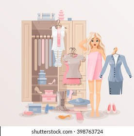 Stock vector illustration of puzzled girl after shower wrapped in towel near closet with huge selection of scattered clothing and shoes for infographic, website, icon, games, motion design, video