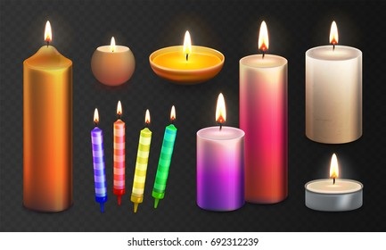 Stock vector illustration realistic 3D set multicolor candles Isolated on a transparent checkered background. Candle flame. Decorative scented paraffin wax candle light and candlestick. EPS10