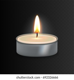Stock vector illustration realistic 3D aluminium burning tea candle Isolated on a transparent checkered background.