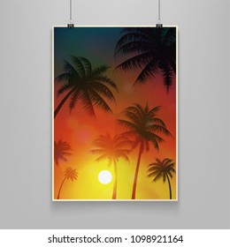 Stock vector illustration realistic billboard summer. Palm trees, date palms. Sunset, afterglow, sundown, twilight, sunrise, evening. Art for banners, flyers, placards and posters. EPS10