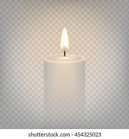 Stock vector illustration realistic candle flame fire light. Isolated on a transparent background. EPS 10