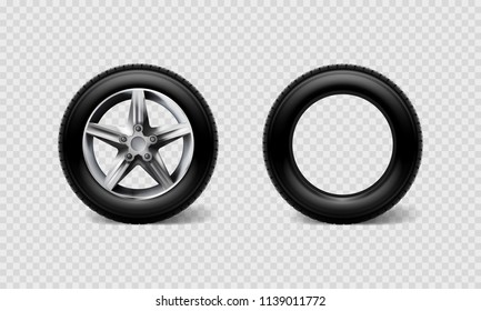 Stock vector illustration realistic car wheels set tyre bus, truck isolated on transparent checkered background. EPS10