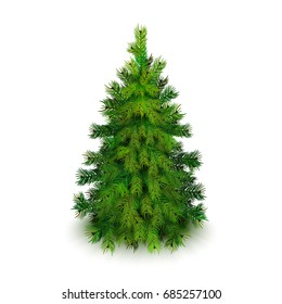 Stock vector illustration realistic Christmas tree Isolated on white background. EPS10