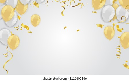 Stock vector illustration realistic defocused golden confetti, glitters Isolated on Background and balloons White golden
