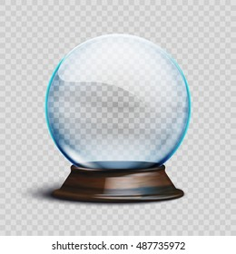 Stock vector illustration realistic empty christmas snow globe isolated on a transparent background. EPS 10