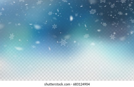 Stock vector illustration realistic falling snow. Snowflakes, snowfall, winter, overlay. Transparent checkered background. Fall of snow. EPS 10