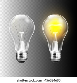 Stock vector illustration realistic lightbulb isolated on a transparent background. EPS 10