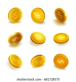 Stock vector illustration realistic set gold coins Isolated on white background. Golden coin. Gold coins, monies, money, cash, icon, currency. EPS10